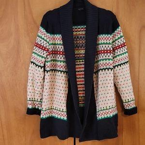 Talbot's beautiful pattern open front sweater